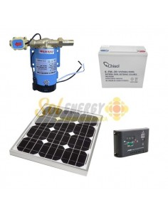 Kit Full Bomba Presurizadora 75w 12v dc con Panel Solar 20w