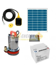 Kit Full Bomba Sumergible con Bateria y Panel Solar 50w